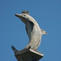 Steinstatue Delphin